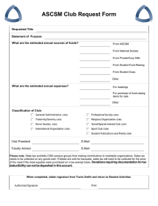 ASCSM Club Request Form Requested Title Statement of