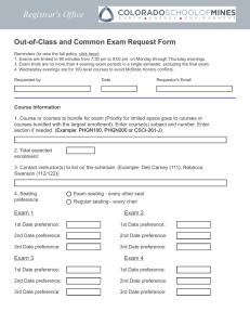 Registrar's Office Out-of-Class and Common Exam Request Form