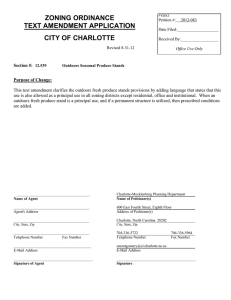 ZONING ORDINANCE TEXT AMENDMENT APPLICATION CITY OF CHARLOTTE
