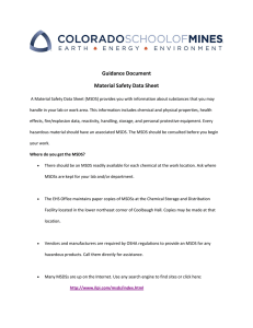 Guidance Document Material Safety Data Sheet