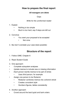 How to prepare the final report