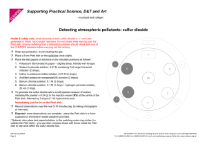 Detecting atmospheric pollutants: sulfur dioxide  Supporting Practical Science, D&T and Art