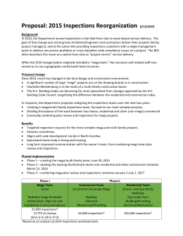 Proposal: 2015 Inspections Reorganization