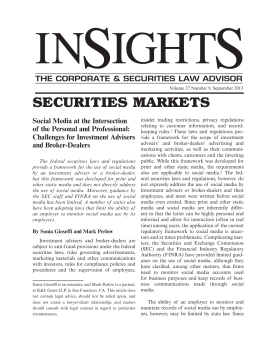 SECURITIES MARKETS Social Media at the Intersection of the Personal and Professional: