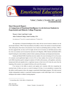 Short Research Report: Experiential and Didactic College Programs