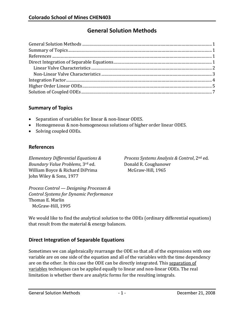 General Solution Methods Colorado School Of Mines Chen403