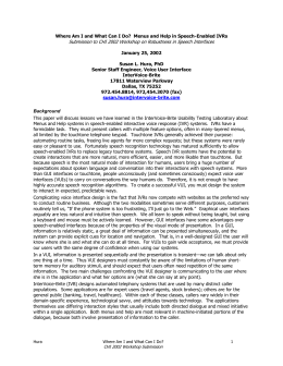 Submission to CHI 2002 Workshop on Robustness in Speech Interfaces