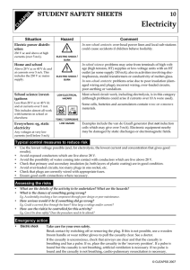 s Electricity 10 STUDENT SAFETY SHEETS