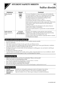 T Sulfur dioxide STUDENT SAFETY SHEETS 52