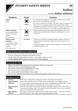 H Iodine STUDENT SAFETY SHEETS 56