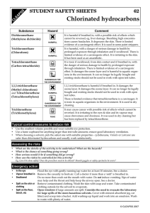 Chlorinated hydrocarbons H STUDENT SAFETY SHEETS 62