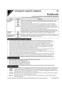 Fieldwork  75 STUDENT SAFETY SHEETS