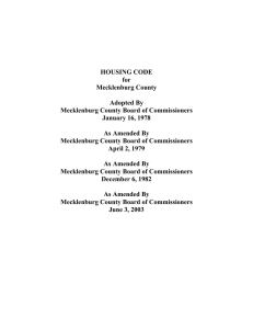 HOUSING CODE for Mecklenburg County