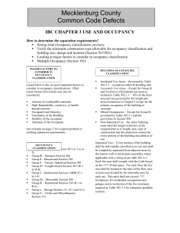 Mecklenburg County Common Code Defects IBC CHAPTER 3 USE AND OCCUPANCY