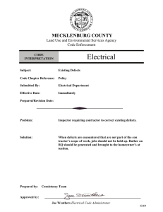 Electrical MECKLENBURG COUNTY Land Use and Environmental Services Agency Code Enforcement