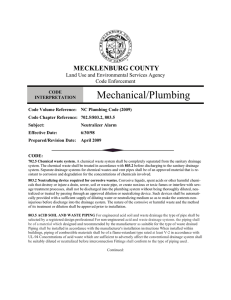 Mechanical/Plumbing MECKLENBURG COUNTY Land Use and Environmental Services Agency Code Enforcement