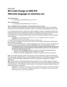 BCC Code Change on BIM‐IPD  Alternate language on voluntary use  June 27, 2011
