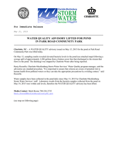 WATER QUALITY ADVISORY LIFTED FOR POND IN PARK ROAD COMMUNITY PARK