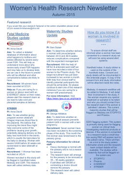 Women's Health Research Newsletter Autumn 2015 How do you know if a