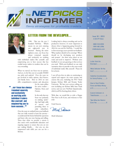 INFORMER LETTER FROM THE DEVELOPER….