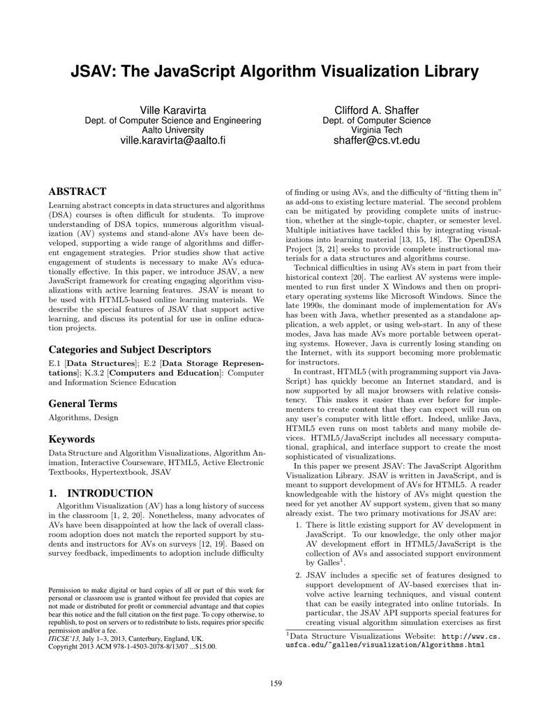 JSAV: The JavaScript Algorithm Visualization Library Ville