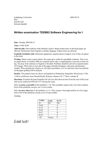 Written examination TDDB62 Software Engineering for I