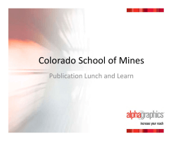 Colorado School of Mines Publication Lunch and Learn
