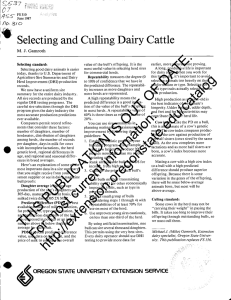 Selecting and Culling Dairy Cattle /o