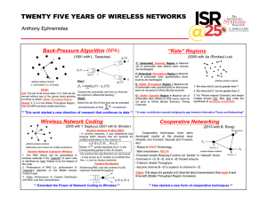 "TWENTY FIVE YEARS OF WIRELESS NETWORKS Anthony Ephremides Back-Pressure Algorithm ""Rate"" Regions"