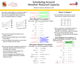 Scheduling Around Weather Reduced Capacity Systems NEXTOR