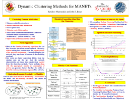 Dynamic Clustering Methods for MANETs Kyriakos Manousakis and John S. Baras
