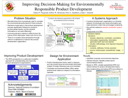 Improving Decision-Making for Environmentally Responsible Product Development Problem Situation A Systems Approach