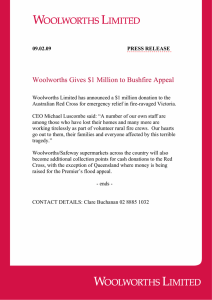 Woolworths Gives $1 Million to Bushfire Appeal