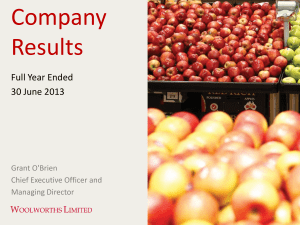 Company Results Full Year Ended 30 June 2013