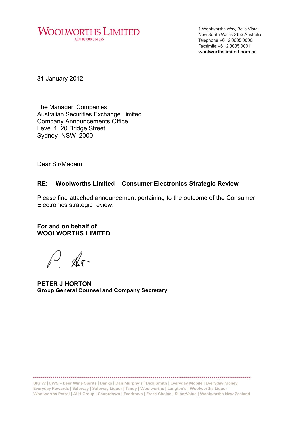 31 January 2012 The Manager Companies Australian Securities Exchange