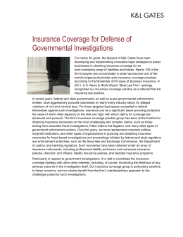 Insurance Coverage for Defense of Governmental Investigations