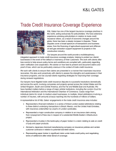 Trade Credit Insurance Coverage Experience