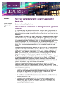 New Tax Conditions for Foreign Investment in Australia
