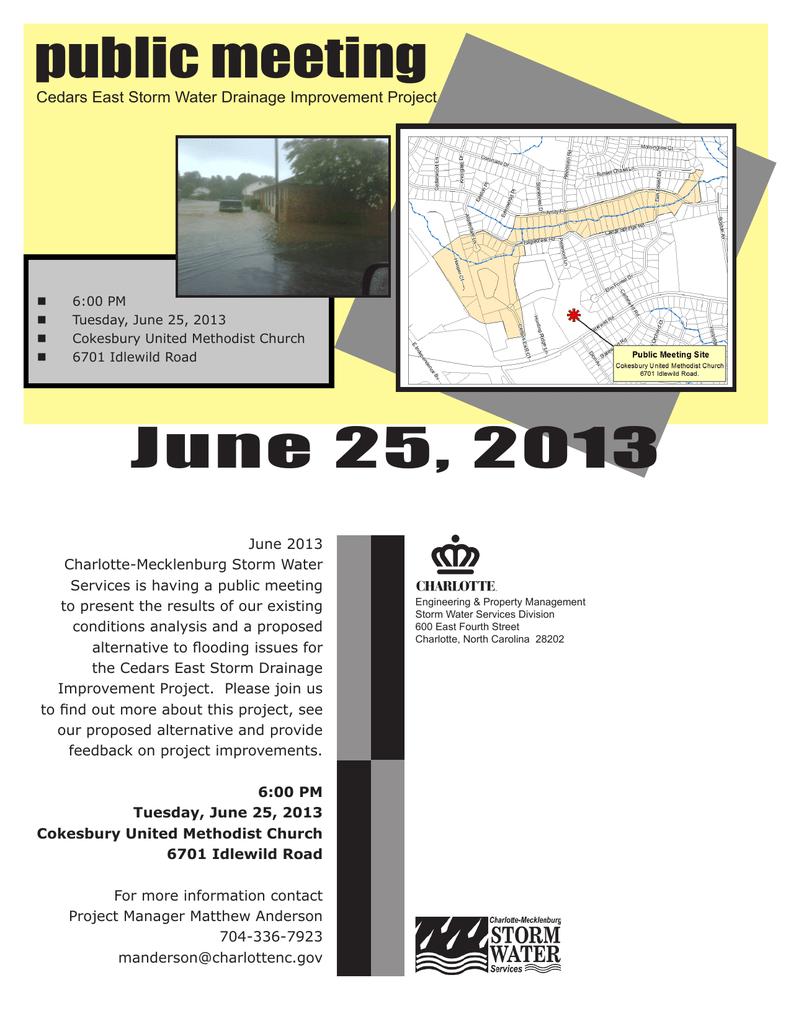 public meeting June 25, 2013 Cedars East Storm Water