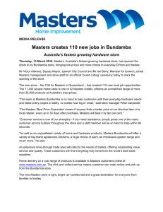 Masters creates 110 new jobs in Bundamba MEDIA RELEASE