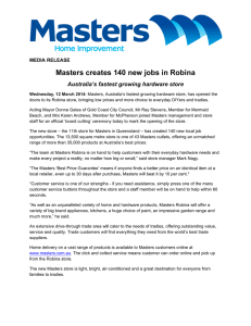 Masters creates 140 new jobs in Robina MEDIA RELEASE
