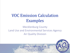 VOC Emission Calculation Examples Mecklenburg County Land Use and Environmental Services Agency