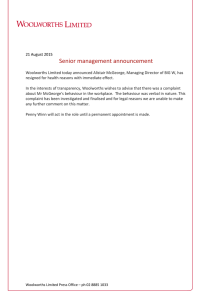 Senior management announcement