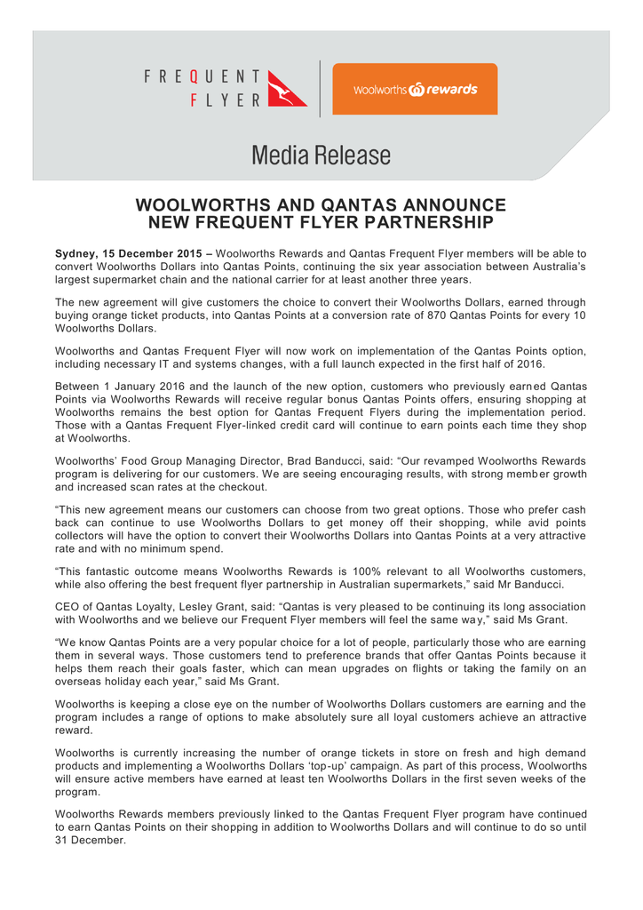 woolworths and qantas announce new frequent flyer partnership