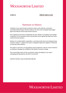 Statement on Masters  12.09.12 PRESS RELEASE