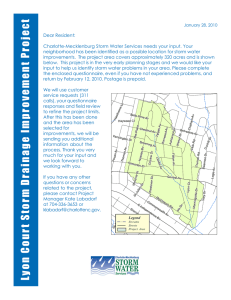 Dear Resident: Charlotte-Mecklenburg Storm Water Services needs your input. Your