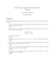 6.253:  Convex Analysis and Optimization Midterm Problem  1