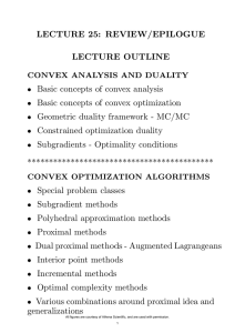 LECTURE 25: REVIEW/EPILOGUE LECTURE OUTLINE Basic concepts of convex analysis