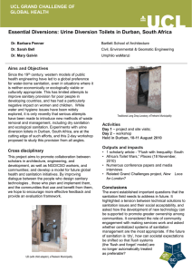 Essential Diversions: Urine Diversion Toilets in Durban, South Africa GLOBAL HEALTH