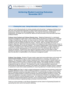 Achieving Student Learning Outcomes November 2011